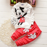 Girls Fashion Christmas Costumes Sets Cotton Mickey Full Sleeves Top Pullover Shirts And Print Pants Girls