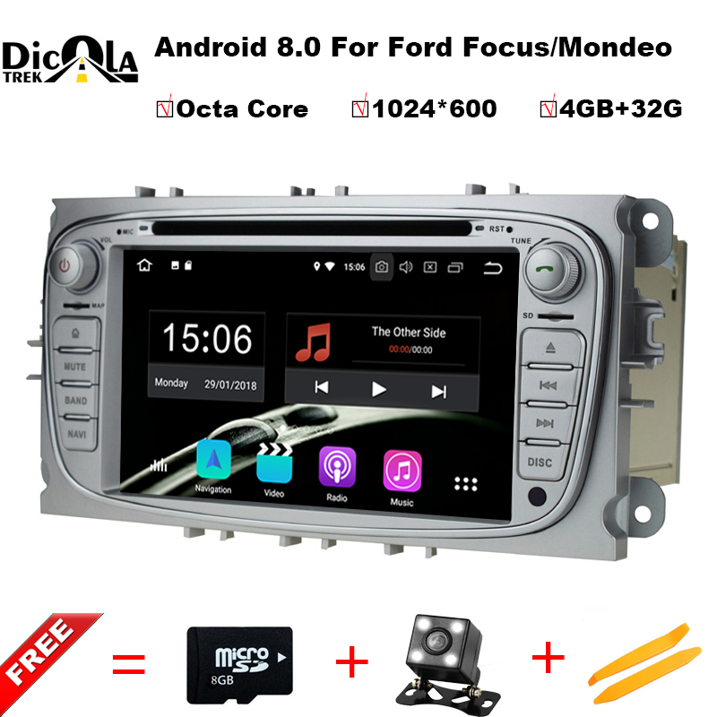 8 Core 2 Din 7Android 8.0 Car DVD Player For Ford Mondeo/Focus GPS Navigation Bluetooth Car Stereo FM Rds Radio Wifi Headunit