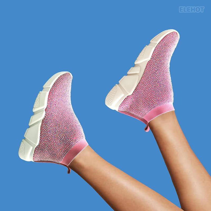 Elehot Pink Rhinestone Sneakers