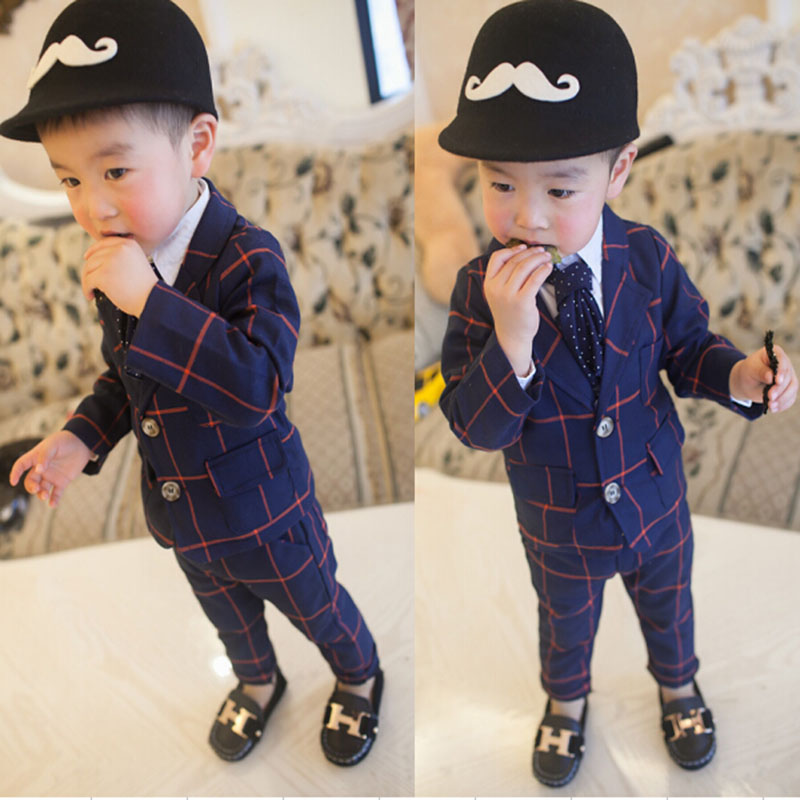 2017 New Children Clothing Set England Gentleman Boys Party Wedding Suits Baby Boy Formal Plaid Long-Sleeved Sets Kid Clothes  baby boys suits clothes gentleman suit toddler boys clothing infant clothing wedding birthday cotton summer children s suits