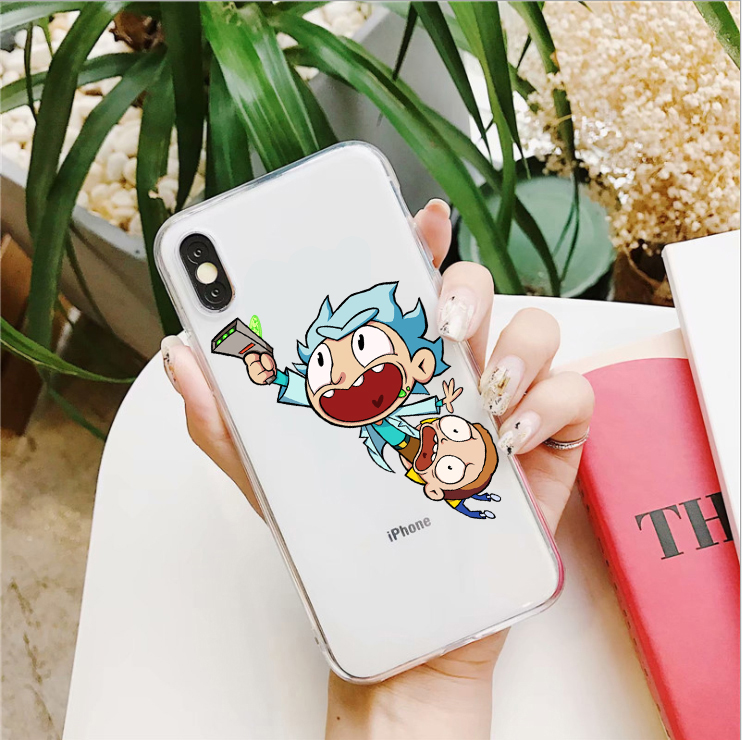 Rick and Morty Soft silicon TPU Phone Case For iPhone X XS XR XS MAX 6 6s 7 8 Plus 5 5S SE Clear Soft TPU Gel Protective Cover in Fitted Cases from Cellphones Telecommunications