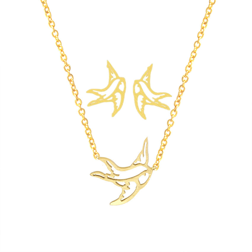 Origami Swallow Stud Earrings Pendant Necklace Men Women Gold Jewelry Sets Stainless Steel Cute Tiny Bird Brincos 2018 Schmuck
