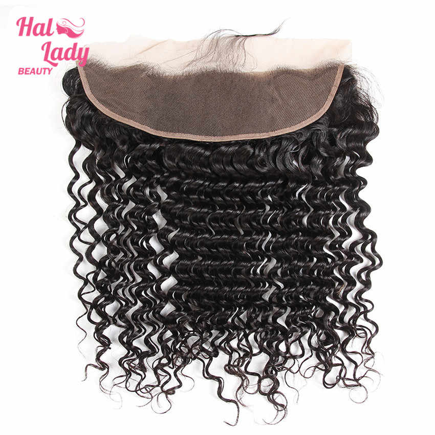 Halo Lady Beauty Peruvain Deep Wave Closure 13x4 Ear to Ear Lace Frontal Closure Non-Remy Human Hair Lace Front With Baby Hair