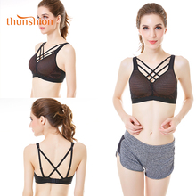 THUNSHION Hollow out Sexy Sports Bra for Fitness Yoga Running Dance Daily Wear Women Underwear Top Unique Cross Strap 2018 Style