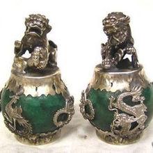 Помеченные тибетские серебряные зеленые нефритовые резные фигурки дракон феникс лев foo Статуэтка собаки старая тибетская Серебряная бронзовая Декорация