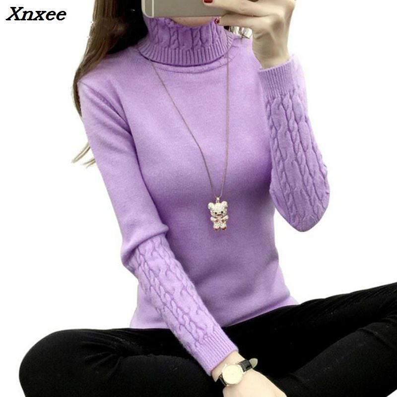 Thick Warm Women Turtleneck Sweater 2018 Autumn Winter Knit Women Sweaters And Pullover Female Tricot Jumper Pull Femme Pullover in Pullovers from Women 39 s Clothing