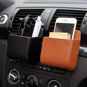 Car Air Vent Storage Box PU Leather Air Outlet Coin Bag Case Pocket Organizer Hanging Holder Pouch Automobile Accessories image