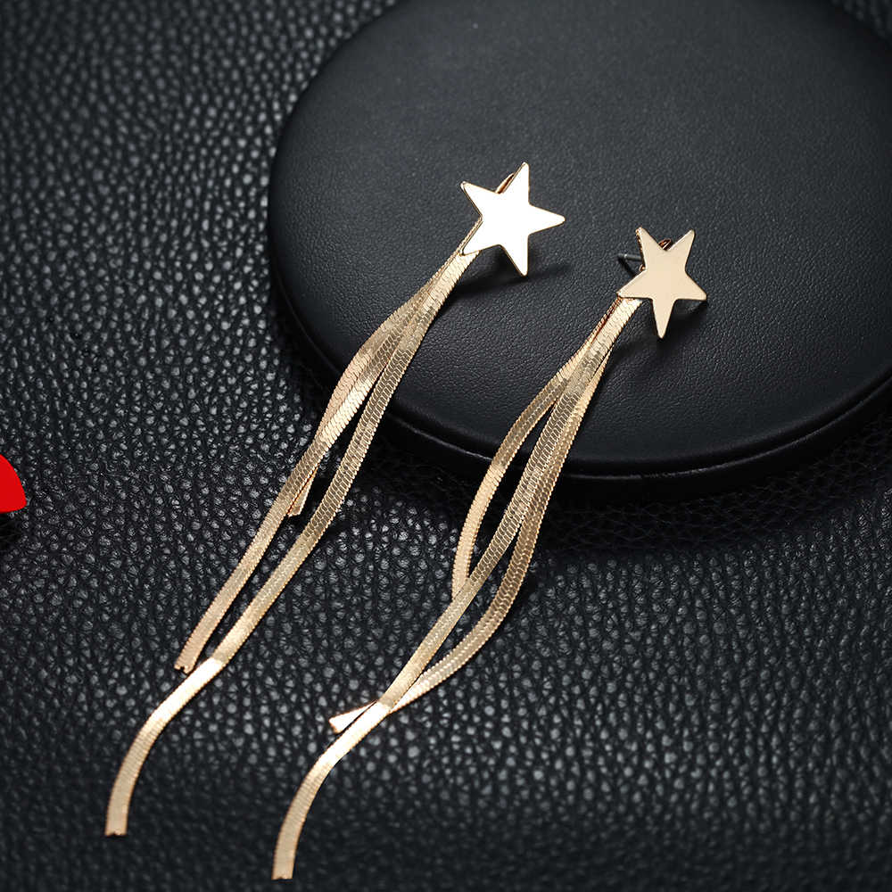 ใหม่แฟชั่นต่างหูพู่สีทองโลหะ Star Dangling ต่างหูสำหรับงานแต่งงาน Kupe