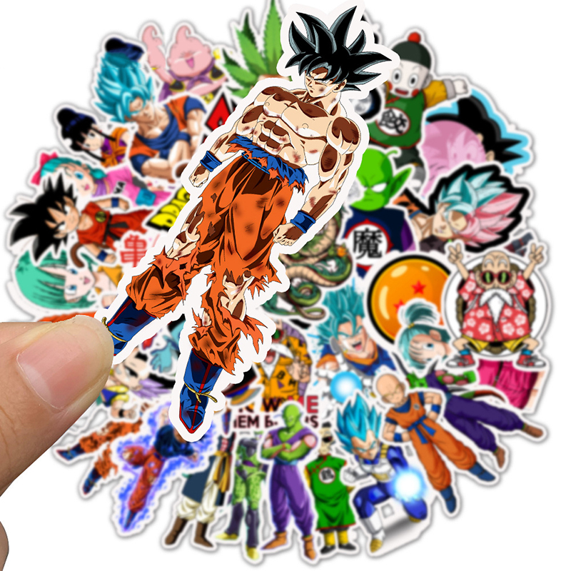 50PCS/pack  Cartoon Stickers Dragon Ball Super Anime For Laptop Luggage Bags Bike Phone Styling Cute Toys Doodle PVC Creative