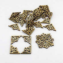 50pcs/lot wooden Decorative Wood chip applique diy Craft supplies patches for clothing Handmade Button Sewing