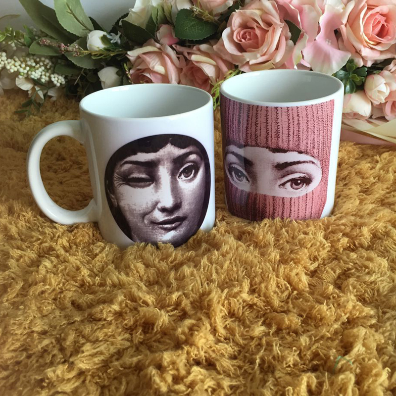 Piero Fornasetti Bone China Coffee Cups Ceramic Tea Cup Heat Sensitive Coffee Milk Tea Mug Transforming Mug for Gift