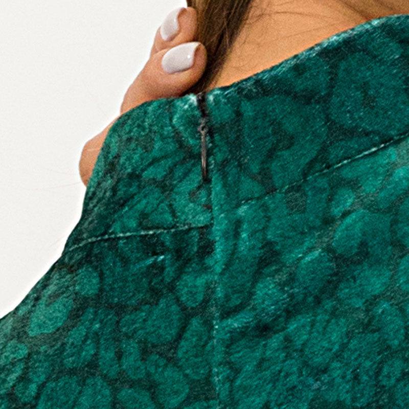 b13d6eaefe Women Long Sleeve Velvet Dress High Collar Slim Fit Red Green Leopard Print  Dress JL-in Dresses from Women s Clothing on Aliexpress.com