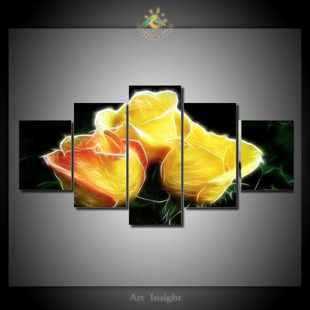 5 Pieces/set Yellow Rose Wall Decor Painting Canvas Art HD Print ...