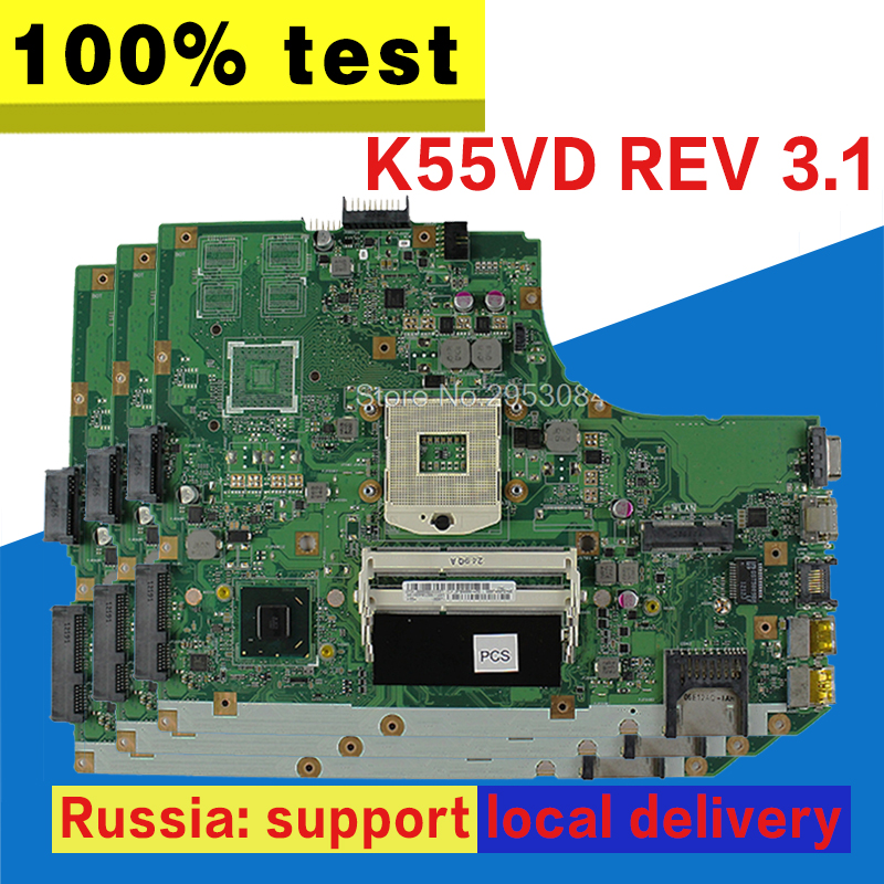цена K55A Motherboard REV:3.0/3.1 HM76 For ASUS A55V K55V k55VD Laptop motherboard K55A Mainboard K55A Motherboard test 100% OK