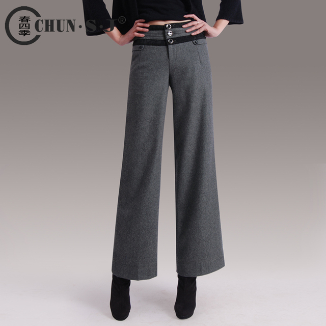 autumn winter women formal warm wool loose trousers thickening boots pants  plus size wide leg pants pantalones botas ropa mujer d12b18665450