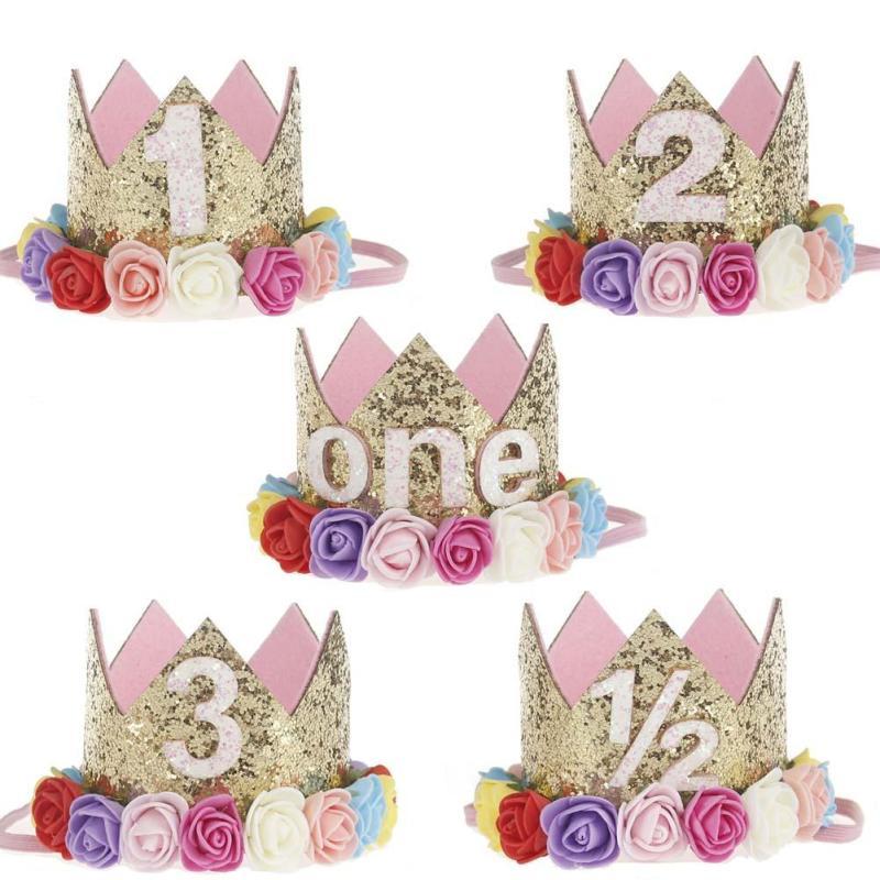1PC Mini Birthday Crown Headband Gold Glitter Birthday