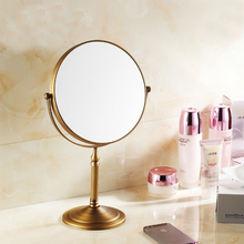 цены Antique Brass Bathroom Mirror 8 Inch 3x Magnifier Makeup Mirror 360-Degree Rotating Vanity Makeup Mirrors Dual Sided Mirror