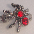 men jewelry cool men/boy's spider red cz  316L stainless steel earring stud punk