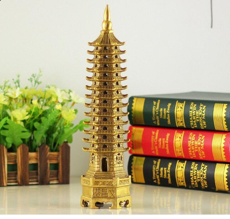 Bureau maison Protection-efficace Talisman maison Protection argent dessin 30 CM hauteur 13 étage pagode laiton statue