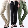 Barato Gran Tamaño Suelta Basculador Pantalones de Playa de Verano Con Cordón de Lino Pantalones de Los Hombres Más El Tamaño 4XL Negro, Azul Marino