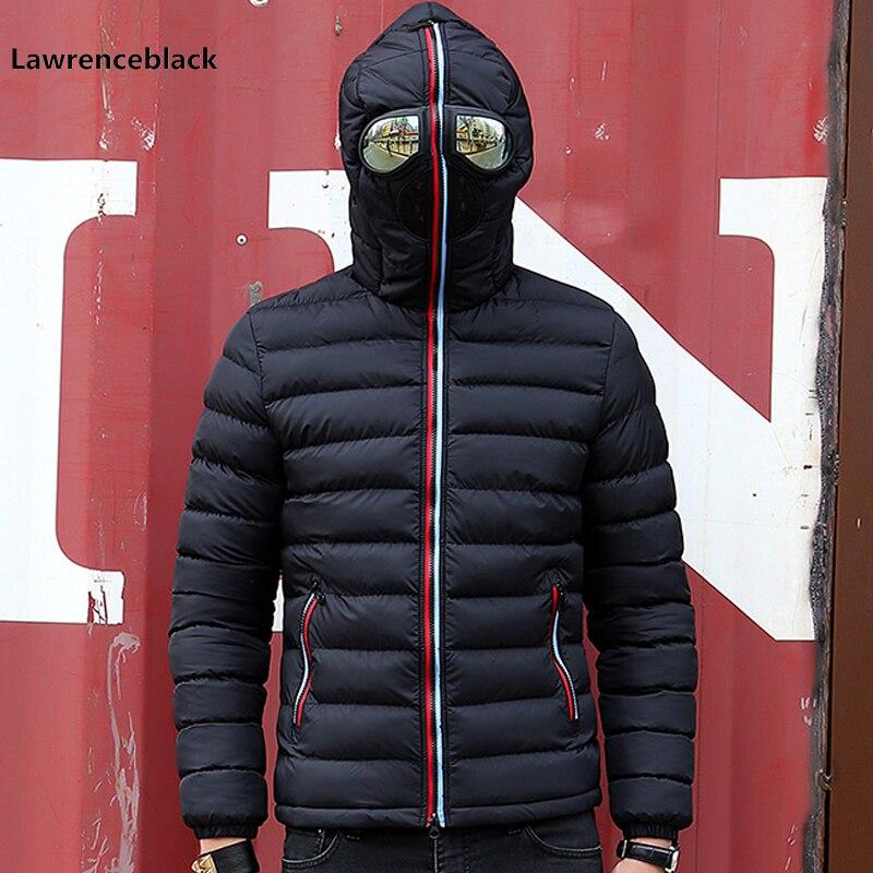 Winter Jacket Men Hood Parkas With Glasses Personality Wear Cotton Winter Coats Male Padded Overcoat Outerwear Windbreaker 6553