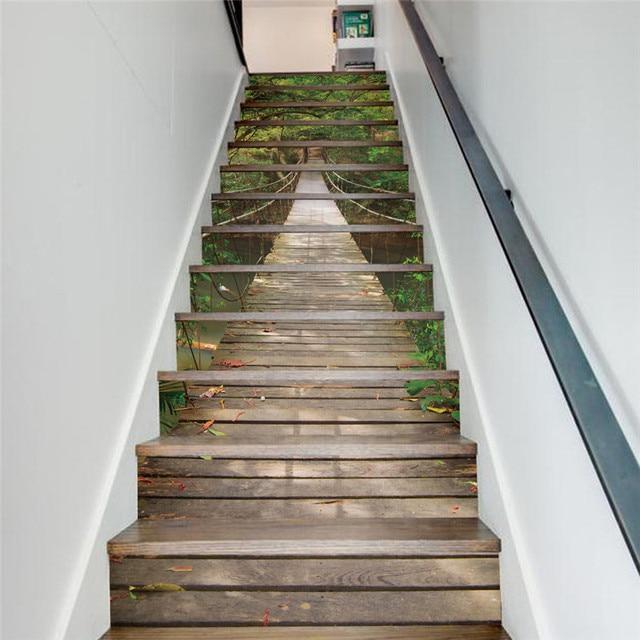 13 Unidsset Forest 3d Puente Escaleras Pegatinas Arboles Verdes - Cuadros-para-escaleras