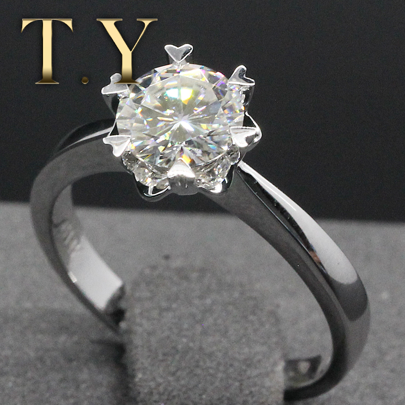 Simple Romantic Alice 1Ct Round Cut Lab Grown Diamond 14K 585 White Gold Moissanites Wedding  Ring For Women Jewelry Gifts