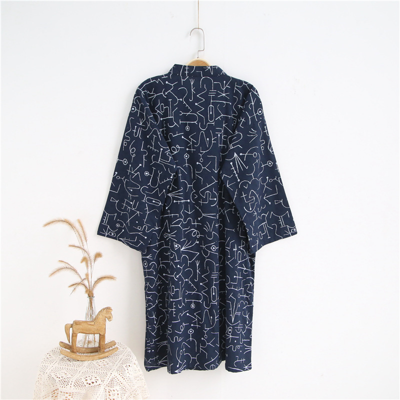 Men Summer 100% Cotton Robe Gauze Leaf Loose Comfortable Leaves Kimono Bath Robes Home Wear Nightly Bathrobes