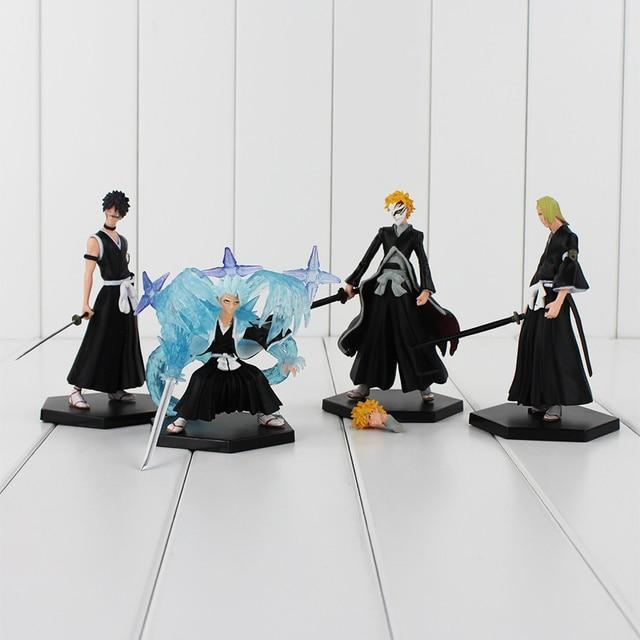 4pcs/lot BLEACH Kurosaki Ichigo PVC Figure Toys Collections Model Dolls Children Gifts 9.5-12cm NO BOX