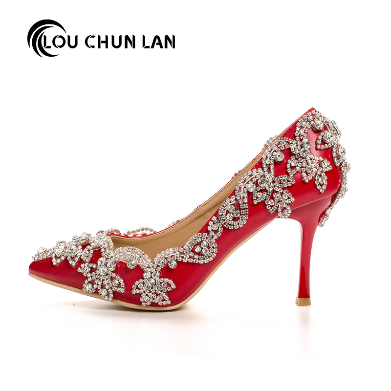 LOUCHUNLAN Women Shoes Pumps Pointed Toe Spring Red Strap Rhinestone Shallow Mouth Wedding Shoes Party Elegant High Heels