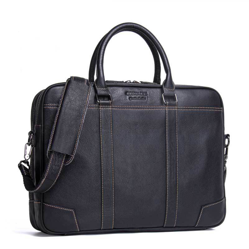 17 Business Black Men s genuine leather briefcase for 14 computer bag Big Capacity Waterproof Men