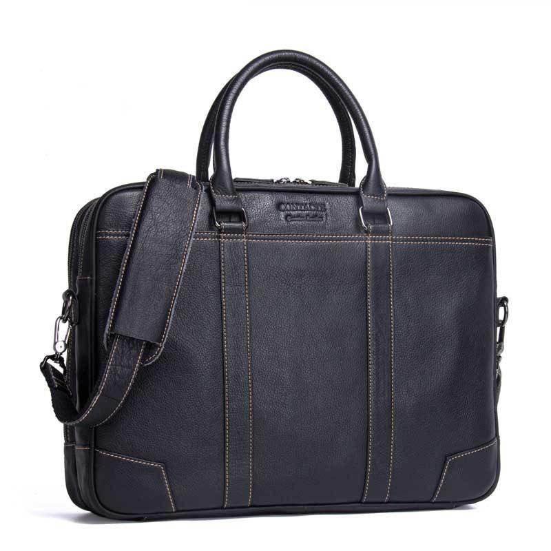 """17 """"الأعمال أسود حقيبة رجالي صغيرة من الجلد الطبيعي ل 14"""" حقيبة حاسوب قدرة كبيرة للماء الرجال جلد البقر حقيبة كتف-في حقائب جلدية من حقائب وأمتعة على  مجموعة 1"""