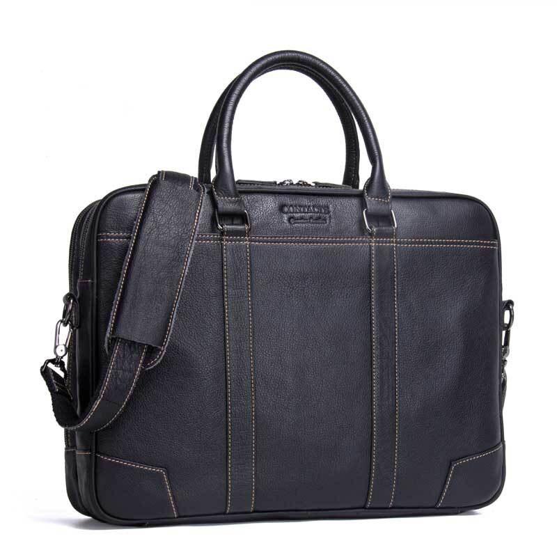 """17 """"Business noir porte documents en cuir véritable pour homme pour 14"""" sac d'ordinateur grande capacité étanche sac à bandoulière en cuir de vache pour hommes-in Porte-documents from Baggages et sacs    1"""