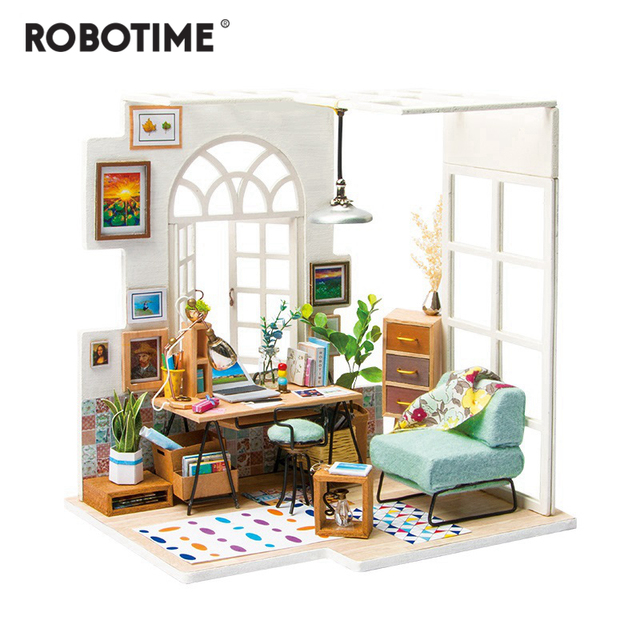 Robotime DIY 소호 시간 가구 어린이 성인 미니어처 나무 인형 집 모델 빌딩 키트 인형 집 장난감 선물 DGM01