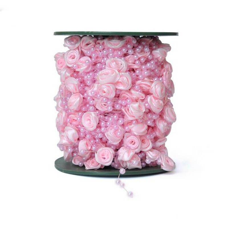 Casamento питания 10 м/лот 4 мм Рыбалка линии искусственный жемчуг цветок Бусины цепи гирлянды цветов Свадебная вечеринка украшения