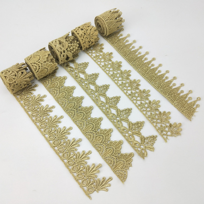 Fashion New Style Gold  Lace Crown Accessories Embellishment Water Soluble  Embroidery Decoration Lace Sewing Craft