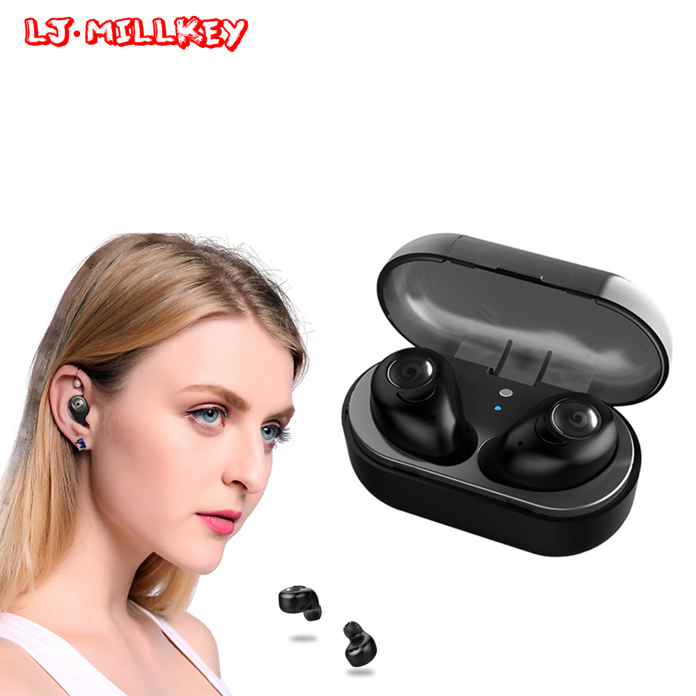 TWS Bluetooth Earphone Earbuds Touch Control Hifi Stereo Wireless Mic for Phone With Charger Charging Box Mini LJ-MILLKEY YZ126 gieftu true wireless earbuds twins x2t mini bluetooth csr4 2 earphone stereo with magnetic charger box case for mobile phone