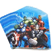 20pcs/set The Avengers Paper Napkin Cartoon Party For Kids Birthday Decoration Theme Supplies Disposable Napkins