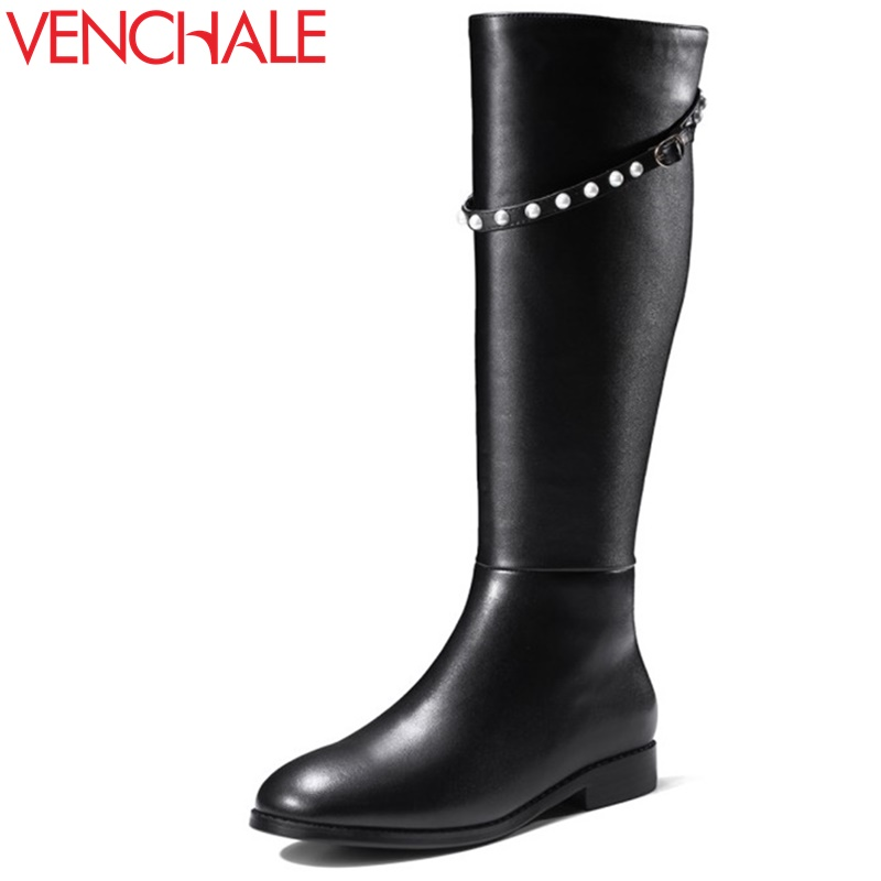 VENCHALE woman knee high boots 2017 winter new come side zipper black buckle boots woman real leather low heel brand shoes classic winter boots leather shoes leather high heeled boots boots side zipper rose