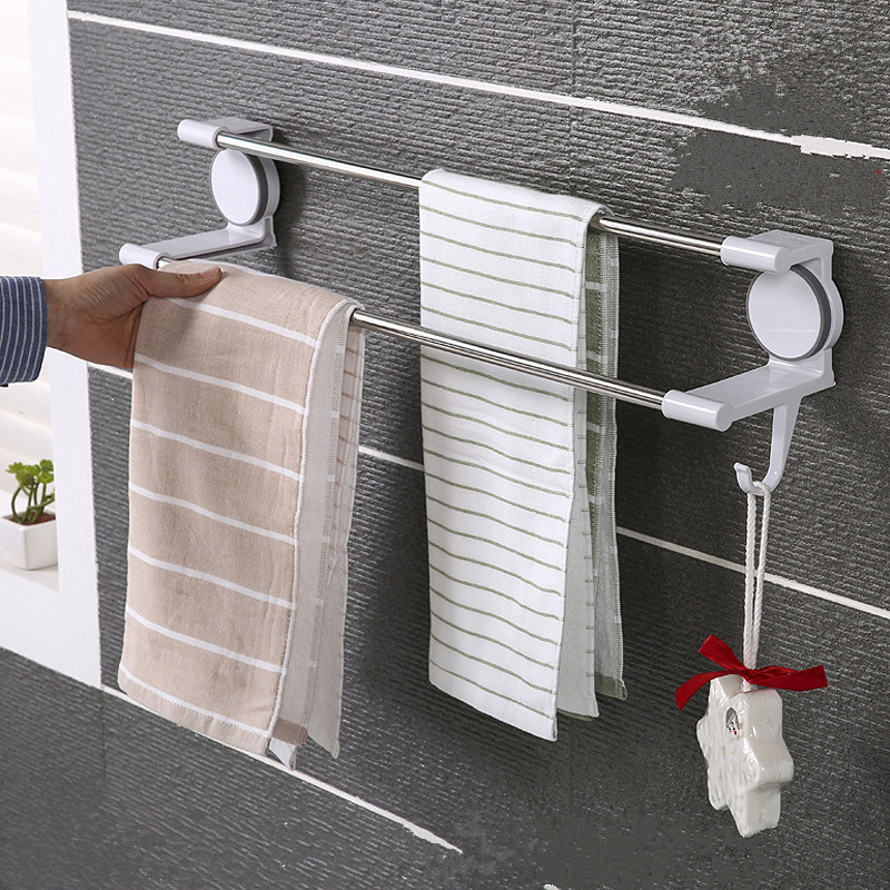 High quality sucker stainless steel Towel rack with hook Multi-function kitchen Bathroom Washcloth Holder Towel Rack Hanger [ fly eagle ]free shipping blue bird over door stainless steel hook holder hanger for kitchen