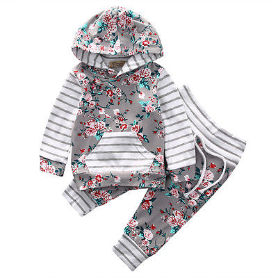 Floral Stripe Baby Girls Clothes Hooded Tops Pants Coming Home Outfits 2Pcs Set
