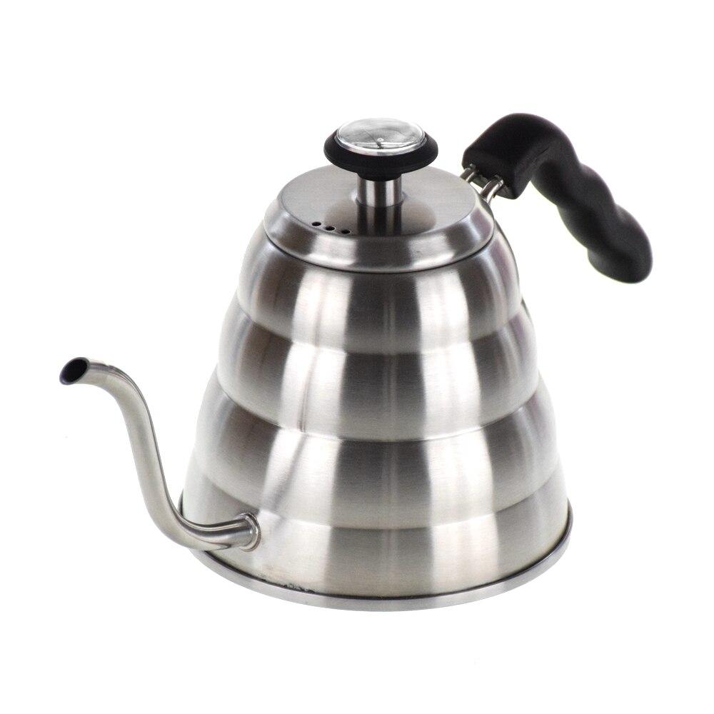 1200ML 304 acier inoxydable V60 goutte à goutte bouilloire avec thermomètre verser sur le Pot avec col de cygne longue cafetière à bec