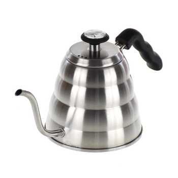 Bouilloire à goutte deau en acier inoxydable 1200   V60 de 304 ML avec thermomètre, Pot à bec Long, cafetière à bec Long