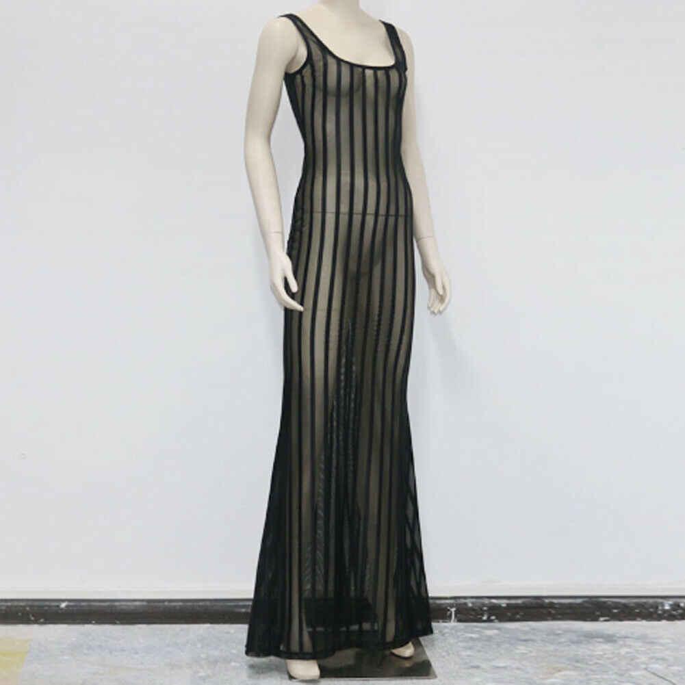 Сексуальное женское летнее Полосатое прозрачное Сетчатое пляжное купальное платье, бикини, вечерние облегающие длинные платья