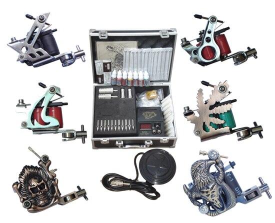 Перманентный набор пистолета для макияжа, 6 машин, профессиональные наборы для пирсинга, оборудование для татуировки, Китай