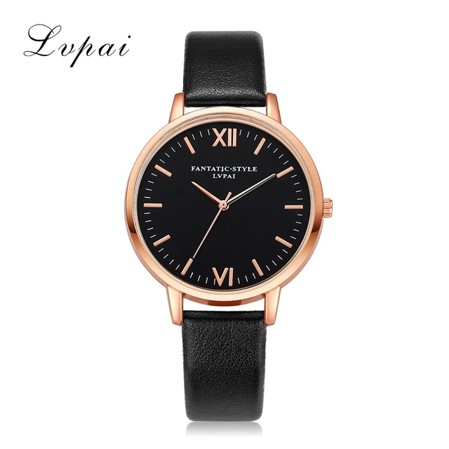 2017 Rose Gold Lvpai Brand Leather Watch Luxury Classic Wrist Watch Fashion Casual Simple Quartz Wristwatch Clock Women Watches 1