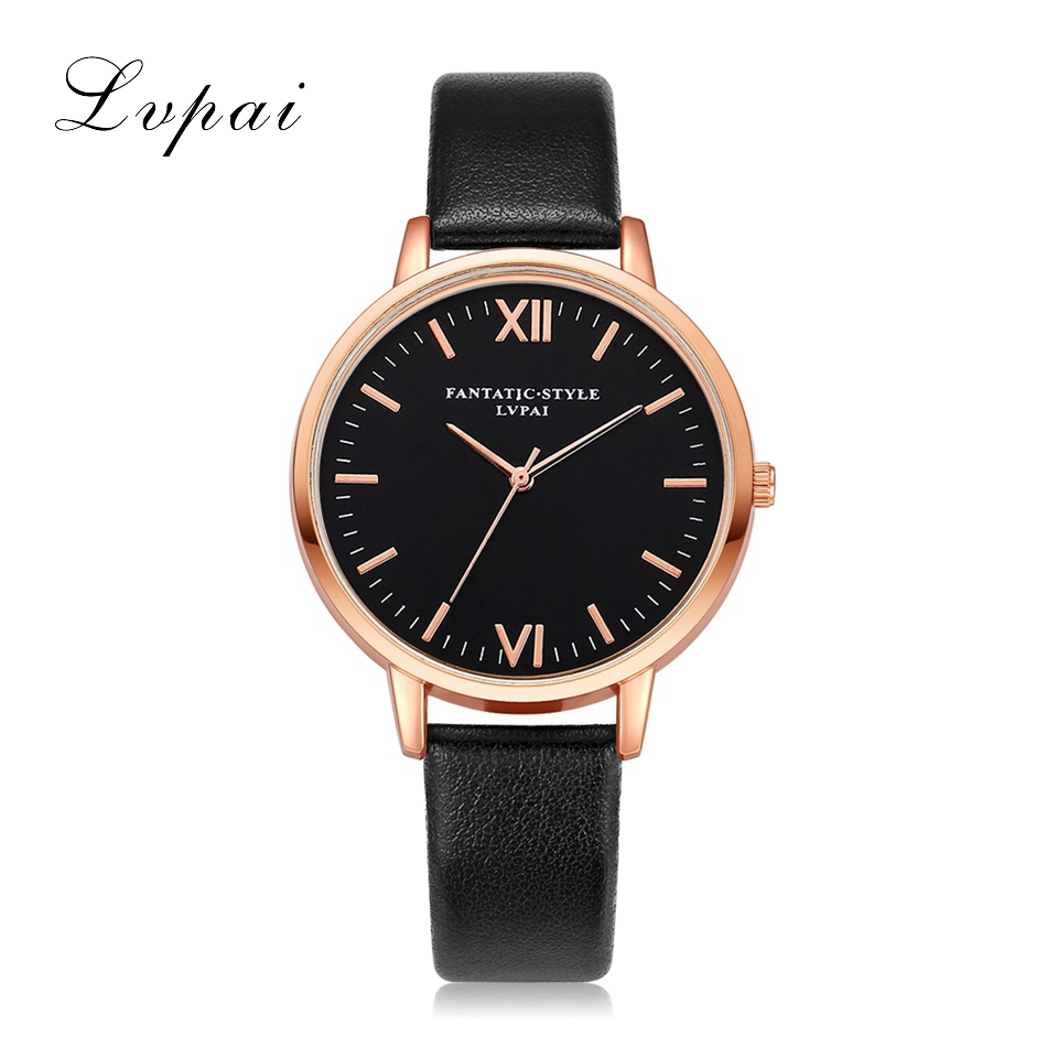 2016 Rose Gold Lvpai Brand Leather Watch Luxury Classic Wrist Watch Fashion Casual Quartz Wristwatch High Quality Women Watches fashion casual latest style rose gold frame watches women luxury brand guanqin genuine leather strap quartz wristwatch