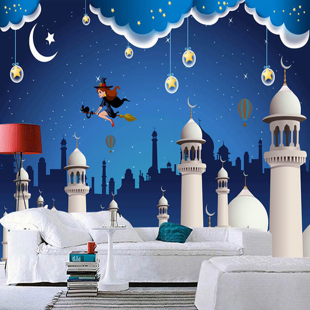 custom any size mural wallpaper 3d blue cartoon castle childrens room backdrop wall decor wall covering - Blue Castle Decor