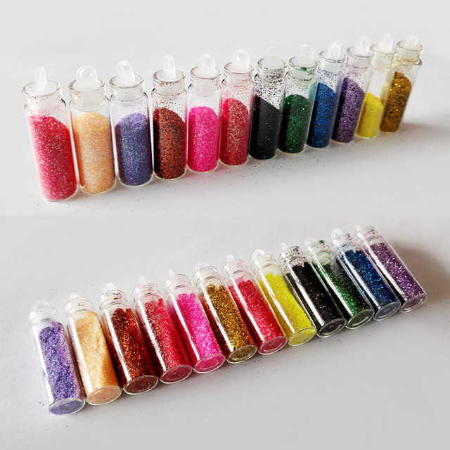 12 Kleur Acryl Poeder Glitter Polish Paillette Nail Art Dust