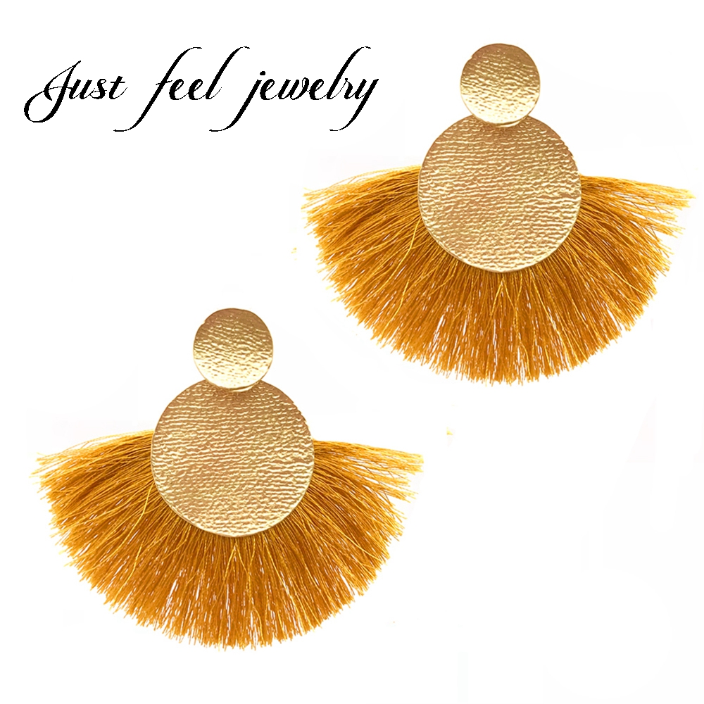 JUST FEEL 6 Colors Yellow Fringed Earrings 2017 Boho Long Tassel Earrings Women Vintage Ethnic Jewelry pendientes flecos borla